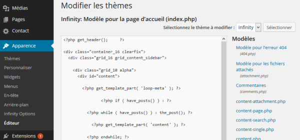 Exemple de template WordPress