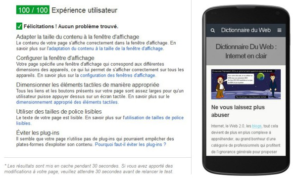 Test de site mobile Google