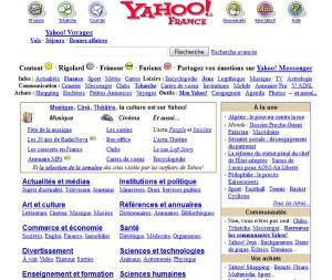 Annuaire Yahoo en 2001