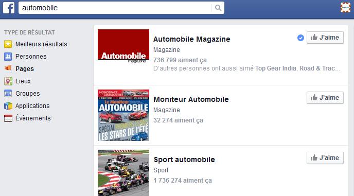 Facebook : recherche des pages auto influentes