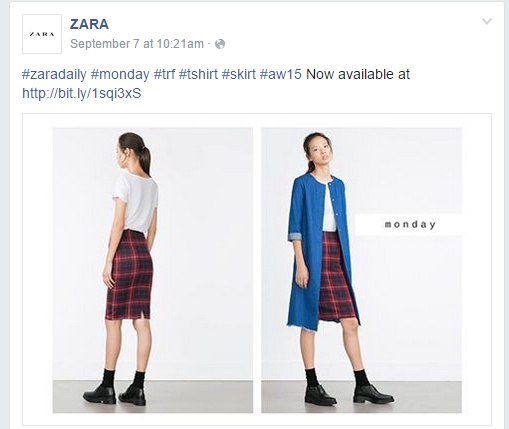 Exemple de post sur le compte Facebook de Zara
