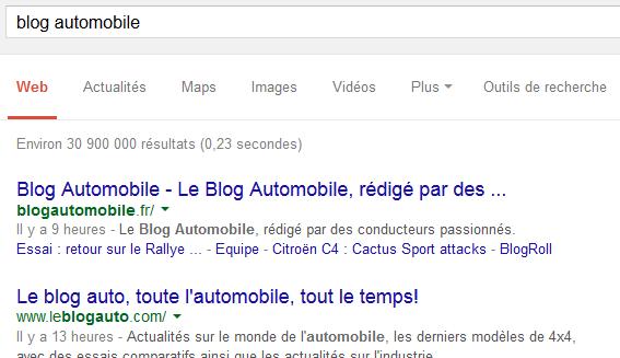 Recherche Google sur les blogs auto