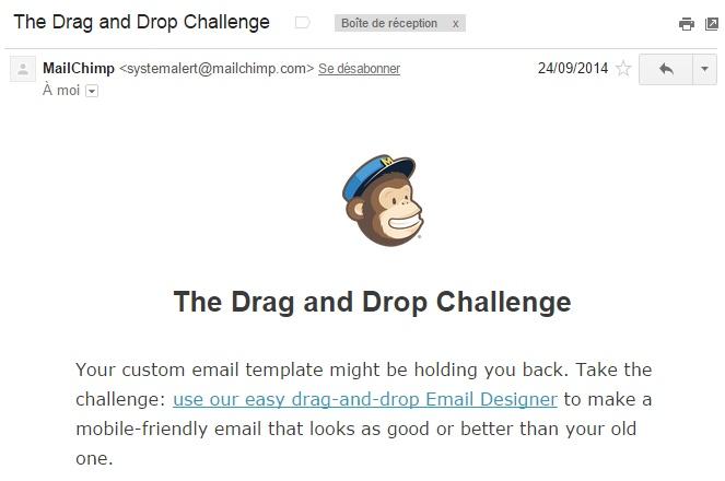 Mailchimp incite ses clients à utiliser les fonctionnalités phares