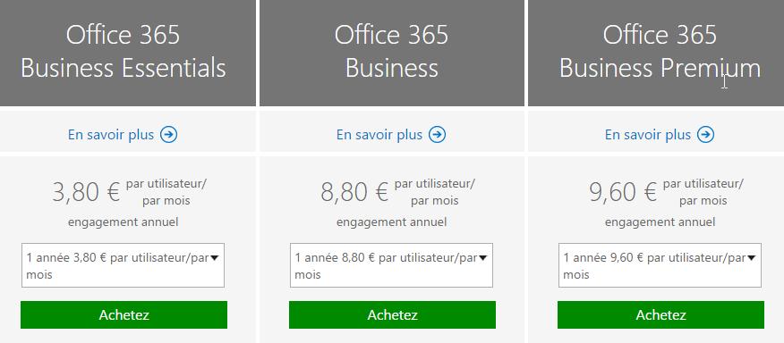 Ex : prix mensuels pour Office 365